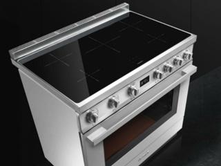 Пять индукционных зон нагрева на рабочем столе плит Smeg